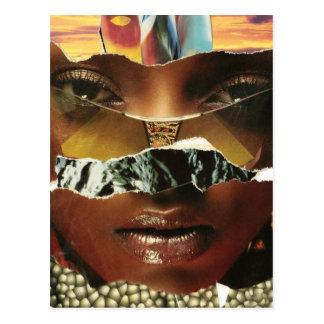 Mysteriöse abstrakte Frauen-Collage Postkarte