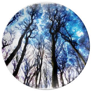 Mysteriöse Bäume Porzellanteller