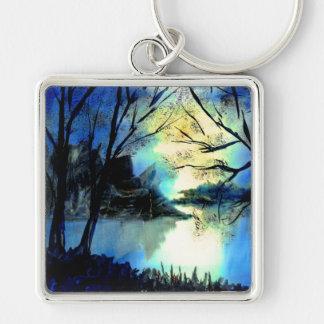 Mysteriöser Wasserfarbe-Sunset See-Schlüsselring Schlüsselanhänger
