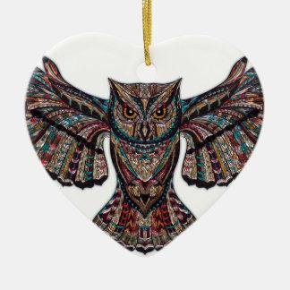 Mystische Eule Keramik Herz-Ornament