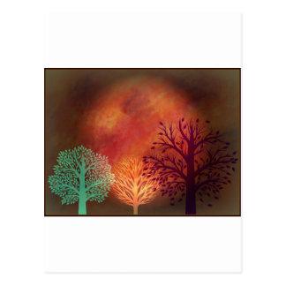 Mystische Sun-Bäume Postkarte