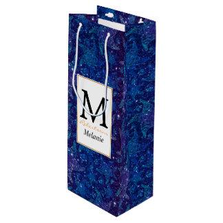 Mystische tiefe blaue Seestarfish auf Glittern Geschenktüte Für Weinflaschen