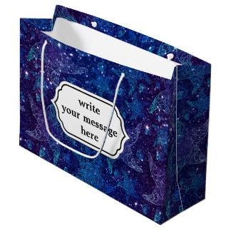 Mystische tiefe blaue Seestarfish auf Glittern Große Geschenktüte