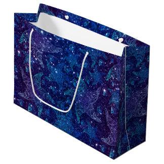 Mystische tiefe blaue Starfish auf Glittern Große Geschenktüte