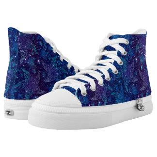 Mystische tiefe blaue Starfish auf Glittern Hoch-geschnittene Sneaker