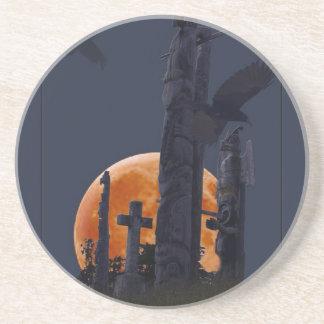 Mystischer Rabe, Mond u. Goth Friedhof Getränkeuntersetzer