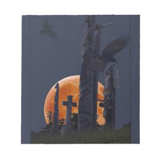 Mystischer Rabe, Mond u. Goth Friedhof Notizblock