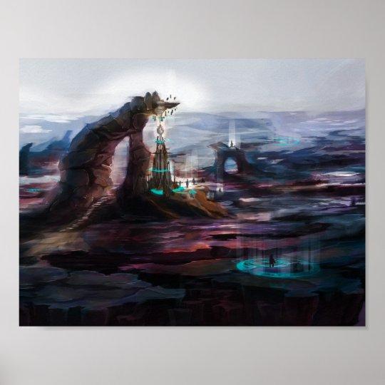 Mystischer Turm am Berg Poster