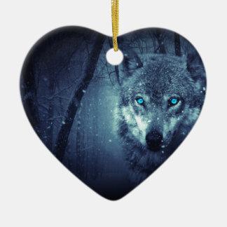 Mystischer Winter-Wolf Keramik Herz-Ornament