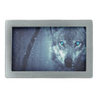Mystischer Winter-Wolf Rechteckige Gürtelschnallen