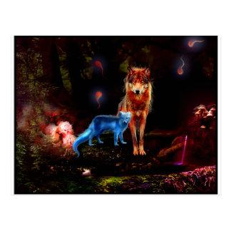 Mystischer Wolf und Fox Postkarte