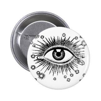 Mystisches Auge sieht alle Anstecknadelbuttons