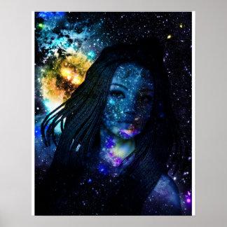 Mystisches Galaxie-Mädchen mit Dreadlocks Poster