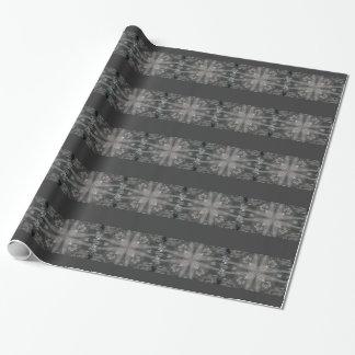 Mystisches graues Feder-Kaleidoskop-Streifen-Party Einpackpapier
