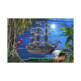 Mystisches Moonlit Piraten-Schiff Leinwanddruck