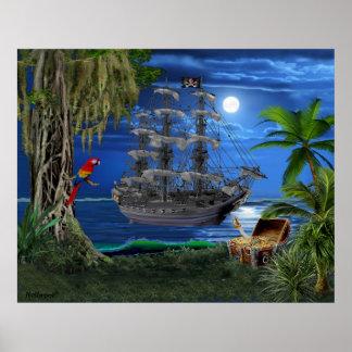 Mystisches Moonlit Piraten-Schiff Poster