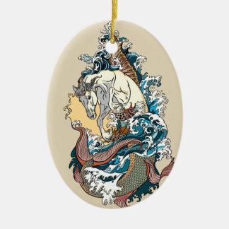 mythologisches Seepferd Keramik Ornament
