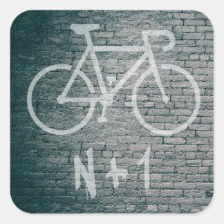 N+1 Fahrrad-Graffiti Quadratischer Aufkleber