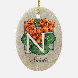 N für Kapuzinerkäse-Blumen-Monogramm Keramik Ornament