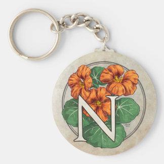 N für Kapuzinerkäse-Blumen-Monogramm Schlüsselanhänger
