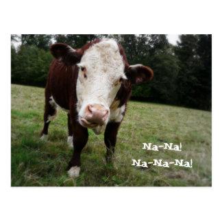 Na-Na! Lustige Kuh haftet heraus Zunge Postkarte