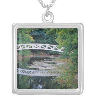 Na, USA, Maine.  Brücke über Teich in Somesville. Versilberte Kette