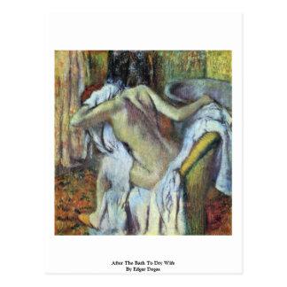 Nach dem Bad, zum der Ehefrau durch Edgar zu Postkarte