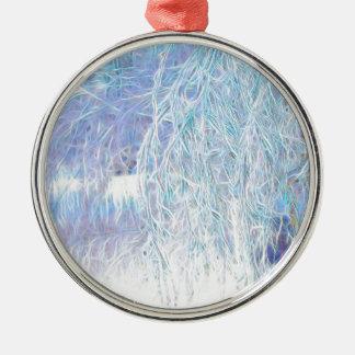 Nach dem Icestorm-Grünen Glühen Rundes Silberfarbenes Ornament