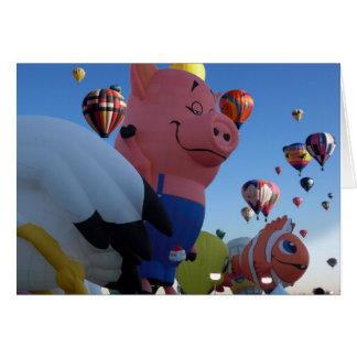 Nachdenklicher Schwein-Heißluft-Ballon Karte