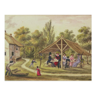 Nachmittagstee an einer Taverne von der Postkarte