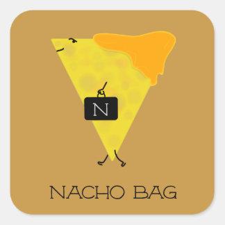 NACHO-TASCHE Tortilla-Chip mit dem Käse, der eine Quadratischer Aufkleber