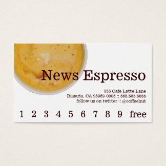 Nachrichten-Kaffee-Getränk-Loyalität/Lochkarte Visitenkarte