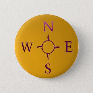 NACHRICHTEN: Kompass-Norden-Ost-Westsüden Runder Button 5,1 Cm