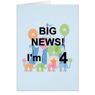 Nachrichtenen-Zirkus-4. Geburtstags-T-Shirts und Karte