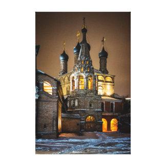 Nacht am orthodoxen Kloster Leinwanddruck