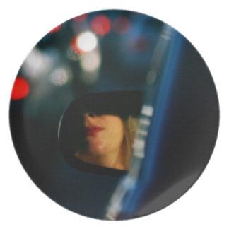 Nacht beleuchtet Auto-Spiegel Damen-Red Lipstick Teller