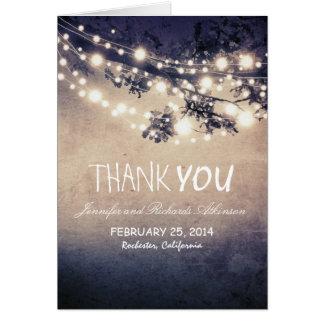 Nacht beleuchtet blaues rustikales danken Ihnen Mitteilungskarte
