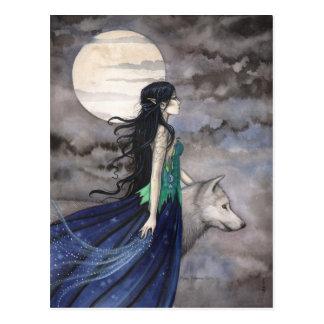 Nacht der Wolf-Fantasie-Kunst-Postkarte Postkarte