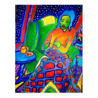 Nacht, die durch Piliero strickt Postkarte