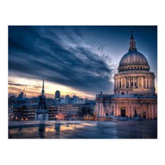 Nacht fällt über St Paul Kathedrale, London Postkarten
