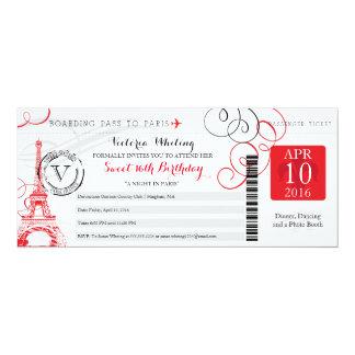 Nacht Geburtstag Paris | im Bonbon-16 10,2 X 23,5 Cm Einladungskarte