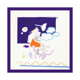 Nacht-u. Nickerchen-Zeichnungen 11 betrachtete sie Leinwanddruck