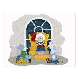 Nacht, welche die Bärn-Familie liest Postkarte