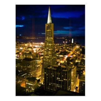 Nachtansicht von San Francisco. Postkarte