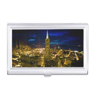 Nachtansicht von San Francisco. Visitenkarten Etui