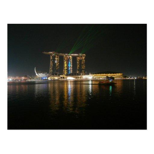 Nachtansicht von Singapur Postkarte