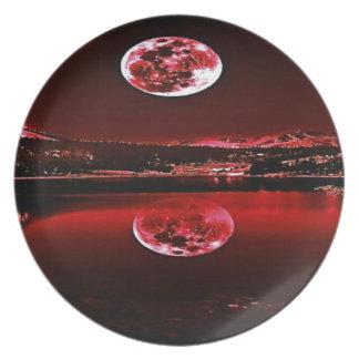 NachtDämmerungs-Rot-Himmel Melaminteller