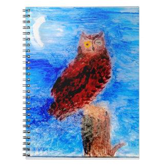 Nachteulen-Vogel-Kunst Notizblock