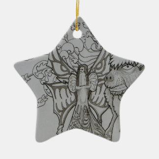 Nachtfee und verärgerter Bär Keramik Ornament