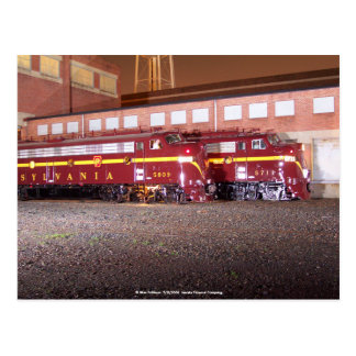 NachtFotoaufnahme Pennsylvania-Eisenbahn- JTFS Postkarte